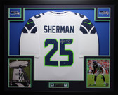 Richard Sherman Autographed LOB and Framed White Seahawks Jersey Auto MCS Certified