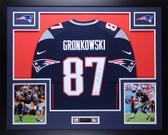 Rob Gronkowski Autographed & Framed Navy Nike Patriots Jersey Auto PSA COA D9