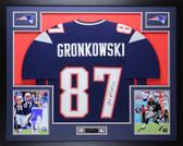 Rob Gronkowski Autographed & Framed Navy Patriots Jersey Auto Beckett COA 10