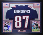 Rob Gronkowski Autographed & Framed Navy Patriots Jersey Auto Beckett COA 12