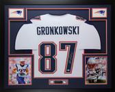 Rob Gronkowski Autographed & Framed White Patriots Jersey Auto Beckett COA D11
