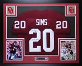 Billy Sims Autographed 78 Heisman & Framed Maroon Oklahoma Jersey Auto JSA COA
