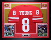 Steve Young Autographed & Framed Red 49ers Jersey Auto JSA COA D8-L