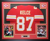 Travis Kelce Autographed & Framed Red Kansas City Chiefs Auto JSA COA D1-L