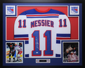 Mark Messier Autographed & Framed White Rangers Jersey JSA COA D1-L