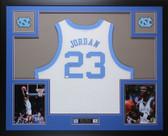 Michael Jordan Autographed & Framed White UNC Jersey Auto PSA COA
