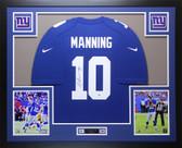 Eli Manning Autographed & Framed Blue Nike Giants Jersey Auto Steiner COA D5-L