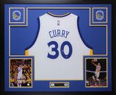 Stephen Curry Autographed & Framed White Warriors Jersey Auto Steiner COA D6-L