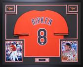 Cal Ripken Autographed & Framed Orange Orioles Jersey Auto JSA COA D8-L