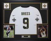 Drew Brees Autographed & Framed White Saints Jersey Auto PSA COA D11-L