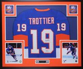 Bryan Trottier Autographed & Framed Blue Islanders Jersey Auto JSA COA D1-L