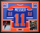 Mark Messier Autographed & Framed Blue Oilers Jersey Auto JSA COA D2-L