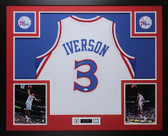 Allen Iverson Autographed and Framed White 76ers Jersey Auto JSA COA D2-L