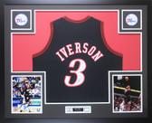 Allen Iverson Autographed and Framed Black 76ers Jersey Auto JSA COA D3-L
