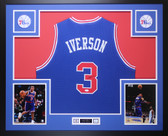 Allen Iverson Autographed and Framed Blue 76ers Jersey Auto JSA COA D4-L