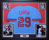 Rod Carew Autographed HOF 91 & Framed Blue Twins Jersey Auto JSA COA D2