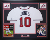 Chipper Jones Autographed & Framed White Braves Jersey Auto Beckett COA D9-L