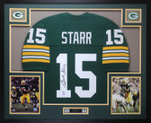 Bart Starr Autographed and Framed Green Packers Jersey Beckett COA D3-L