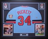Kirby Puckett Autographed & Framed Blue Twins Jersey Auto JSA COA D1