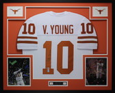 Vince Young Autographed & Framed White Longhorns Jersey Auto Beckett COA  D4-L
