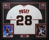 Buster Posey Autographed & Framed Cream Giants Jersey Auto Beckett COA D10-L