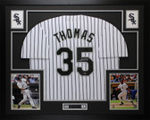 Frank Thomas Autographed & Framed White White Sox Jersey Auto LEAF COA D6-L