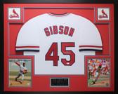 Bob Gibson Autographed and Framed White Cardinals Jersey Auto JSA COA D3