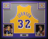 Magic Johnson Autographed & Framed Yellow Lakers Jersey JSA COA D10-L