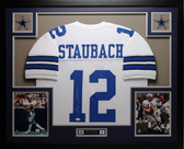 Roger Staubach Autographed and Framed White Jersey Auto JSA Certified