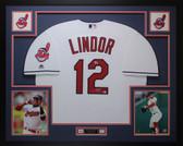 Francisco Lindor Autographed & Framed White Indians Jersey Auto Fanatics COA D1-L