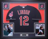 Francisco Lindor Autographed & Framed Blue Indians Jersey Auto Fanatics COA D2-L