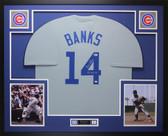 Ernie Banks Autographed & Framed Gray Cubs Jersey Auto Beckett COA D6-L