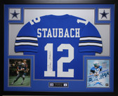 Roger Staubach Autographed and Framed Blue Jersey Auto JSA Certified