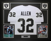 Marcus Allen Autographed & Framed White Raiders Jersey Auto Beckett COA D9-L