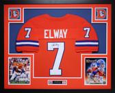 John Elway Autographed and Framed Orange Crush Broncos Jersey Auto JSA COA