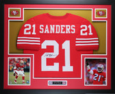 Deion Sanders Autographed and Framed Red 49ers Jersey Auto JSA COA