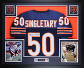 Mike Singletary Autographed HOF 98 and Framed Blue Bears Jersey Auto JSA COA