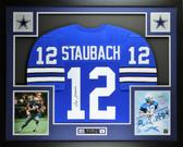 Roger Staubach Autographed & Framed Blue Cowboys Jersey Auto JSA COA D5-L