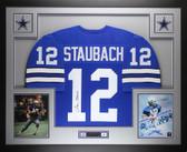 Roger Staubach Autographed & Framed Blue Cowboys Jersey Auto JSA COA D1-L