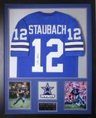 Roger Staubach Autographed & Framed Blue Cowboys Jersey Auto JSA COA D1-V