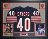 Gale Sayers Autographed and Framed Blue Chicago Bears Jersey JSA COA D6-L