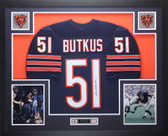 Dick Butkus Autographed and Framed Blue Chicago Bears Jersey JSA COA D8-L