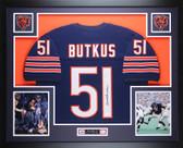Dick Butkus Autographed and Framed Blue Chicago Bears Jersey JSA COA D9-L