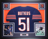 Dick Butkus Autographed and Framed Blue Chicago Bears Jersey JSA COA D12