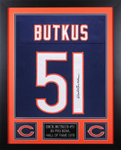 Dick Butkus Autographed and Framed Blue Chicago Bears Jersey JSA COA D3-S