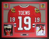 Jonathan Toews Autographed and Framed Red Blackhawks Jersey Auto JSA COA (D4-L)