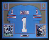 Warren Moon Autographed & Framed Blue Houston Oilers Jersey JSA COA D2-L
