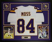Randy Moss Autographed & Framed White Vikings Jersey JSA COA D4-L