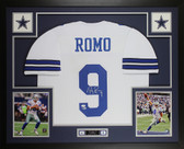 Tony Romo Autographed & Framed White Cowboys Jersey Beckett COA D4-L