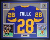 Marshall Faulk Autographed & Framed Blue St Louis Rams Jersey JSA COA D4-L